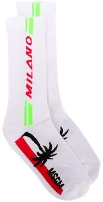 MSGM Milano print socks