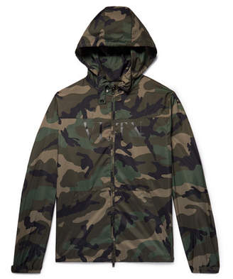 Valentino Camouflage-Print Shell Hooded Jacket - Men - Army green