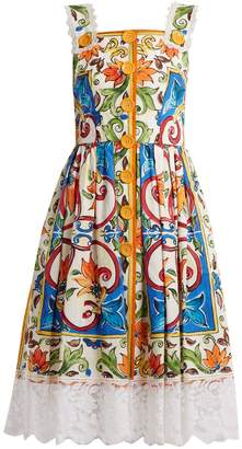 Dolce & Gabbana Majolica-print square-neck cotton-blend dress