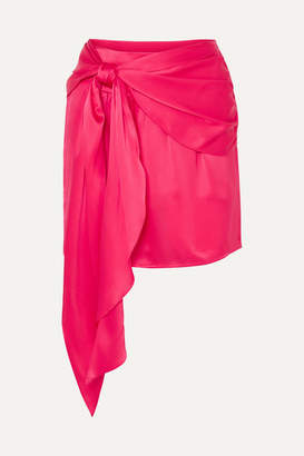 Mason by Michelle Mason Draped Silk-charmeuse Mini Skirt - Fuchsia