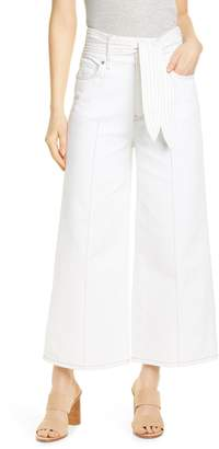 Joie Gadina Belted Ankle Wide-Leg Pants