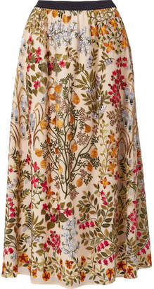 RED Valentino Embroidered Tulle Midi Skirt - Beige