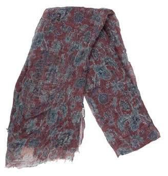 Brunello Cucinelli Printed Raw-Edge Scarf