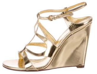 Sergio Rossi Leather Slingback Wedges