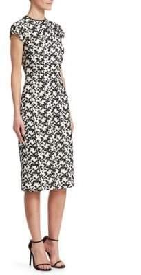 Lela Rose Lace Cap-Sleeve Sheath Dress