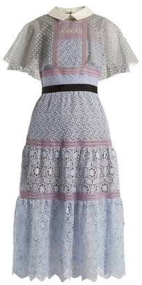 Self-portrait - Contrast Collar Floral Lace Midi Dress - Womens - Light Blue