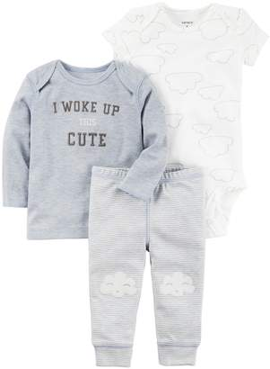 "Carter's Baby Boy I Woke Up This Cute"" Graphic Tee, Clouds Bodysuit & Striped Pants Set"