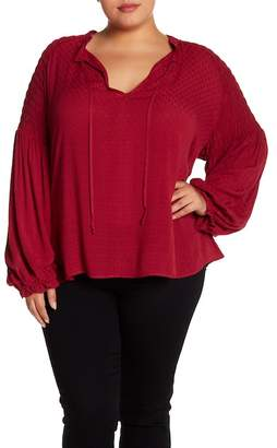 Susina Smocked Splt Neck Blouse (Plus Size)
