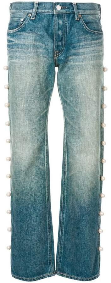Tu Es Mon Trésor side pearl jeans short length