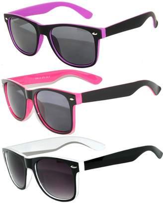 OWL 3 Pack - Retro Two Tone Vintage Smoke Lens Sunglasses Red, White, Purple