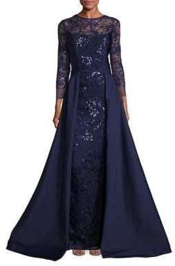 Teri Jon by Rickie Freeman Embellished Lace Overlay Gown