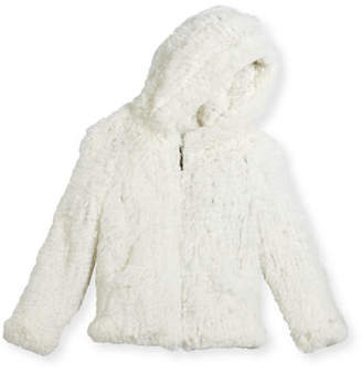 Adrienne Landau Hooded Zip-Front Rabbit Fur Jacket, Size 2-12
