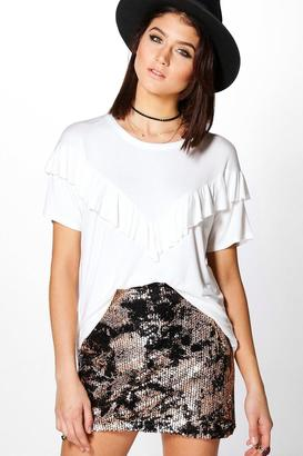boohoo Sophie Supersoft Ruffle T-Shirt $16 thestylecure.com