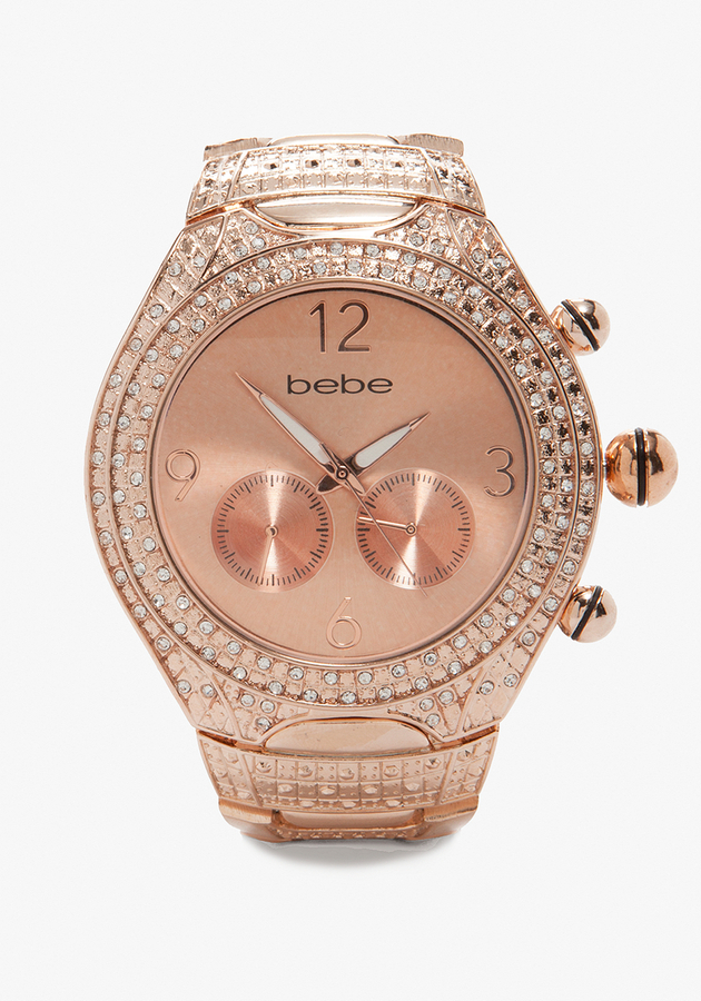 Bebe Rose Gold Tank Watch - ONLINE EXCLUSIVE