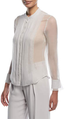 Emporio Armani Button-Front Sheer Silk Blouse with Front Panel