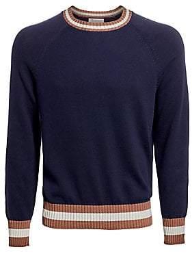 Brunello Cucinelli Men's Varsity Crewneck Cotton Sweater