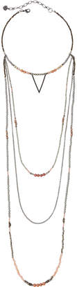 Nakamol Beaded Multi-Strand Choker Necklace w/ Triangle Charm