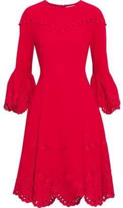 Prabal Gurung Button-Detailed Broderie Anglaise-Trimmed Cady Dress