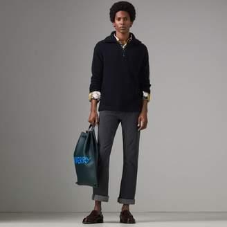 Burberry Zip-neck Cashmere Blend Fleece Sweater