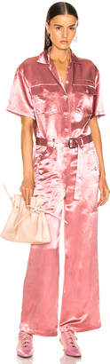 Sies Marjan Neve Satin Pocket Jumpsuit in Dusty Rose | FWRD