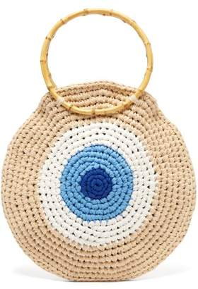 My Beachy Side - Elexis Evil Eye Bamboo Handle Tote Bag - Womens - Blue Multi