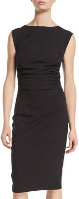 Neiman Marcus Side-Ruched Cap-Sleeve Sheath Dress
