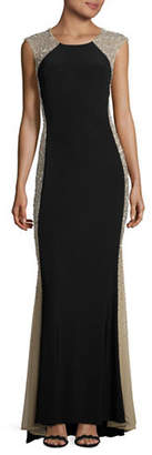 Xscape Evenings Caviar Illusion Side Panel Gown