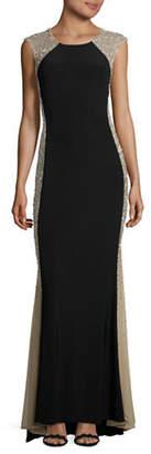 Xscape Caviar Illusion Side Panel Gown
