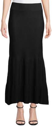 Leon Max Ribbed-Knit Flounce Maxi Skirt