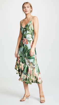 PatBO Paradise Print Ruffle Slip Dress