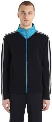 Prada Zip-Up Hooded Nylon & Cotton Sweatshirt
