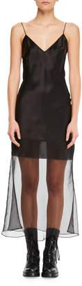 Olivier Theyskens V-Neck Spaghetti-Strap Fitted Midi Cocktail Dress w/ Transparent Hem