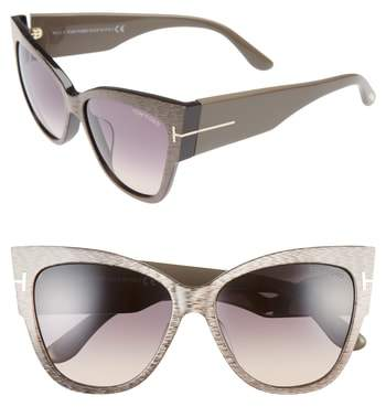 Women's Tom Ford Anoushka 57Mm Special Fit Butterfly Sunglasses - Dove Grey/ Grey Gradient Sand