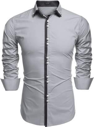 Coofandy Men's Contrast Color Button Down Dress Shirts Casual Shirts