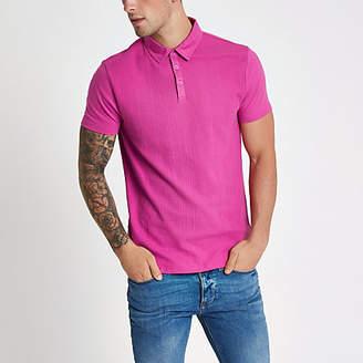 River Island Mens Pink waffle slim fit polo shirt