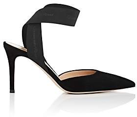 Gianvito Rossi Women's Elastic-Strap Suede Pumps - Black