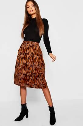 boohoo Woven Tie Waist Tiger Print Midi Skirt