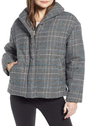 Nordstrom Something Navy Plaid Puffer Jacket Exclusive)