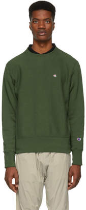 Champion Reverse Weave Green Logo Sweatshirt