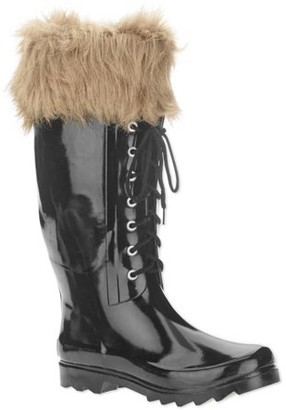 FOREVER YOUNG Forever Young Women's Faux Fur Trim Lace-up Tall Rain Boot
