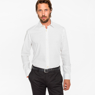 Paul Smith Men's Classic-Fit White 'Aeroplanes' Print Shirt With 'Artist Stripe' Cuff Lining