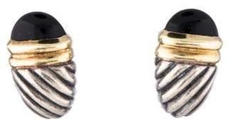 David Yurman Two-Tone Onyx Shrimp Earclips