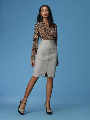 Diane von Furstenberg Patch Pocket Zip Skirt