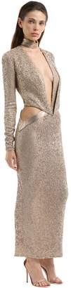 Julien Macdonald Sequined Gown W/ Plunging Neckline