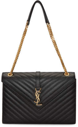 Saint Laurent Black Large Envelope Monogram Chain Bag