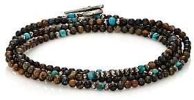 M. Cohen Men's Mixed-Bead Wrap Bracelet-Blue