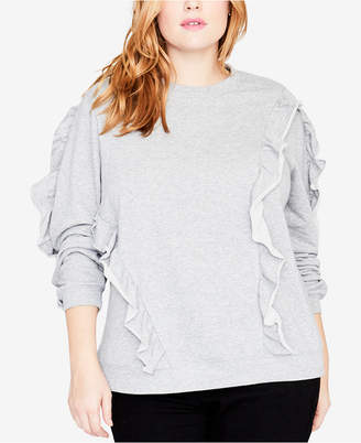 Rachel Roy Trendy Plus Size Ruffled Sweatshirt