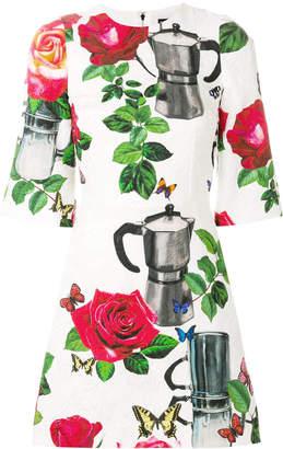 Dolce & Gabbana coffee pot print brocade dress