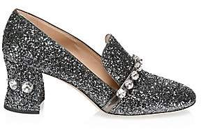 Miu Miu Women's Rocchetto Rhinestone Glitter Block Heel Loafers