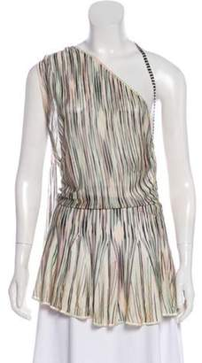 Missoni One-Shoulder Striped Sweater Mint One-Shoulder Striped Sweater